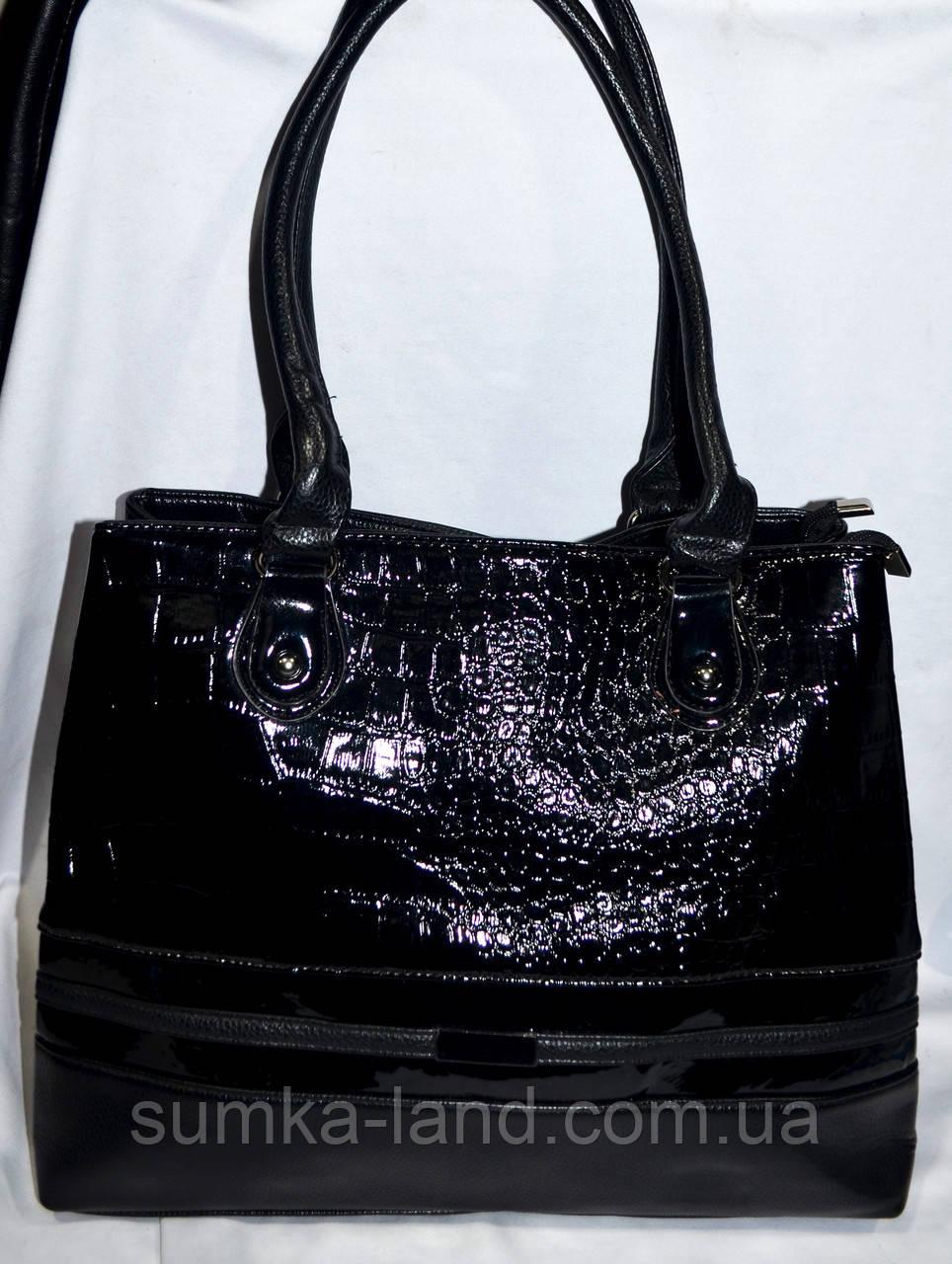 8dc999ec7a32 Женская черная лаковая сумка из искусственной кожи на 2 отделения 36*30 см