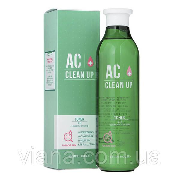 Тонер противоспалительный для проблемной кожи с акне ETUDE HOUSE AC Clean Up Gel Toner200 ml