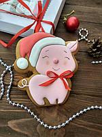 """Пряник имбирно-медовый К Новому Году """"Новогодняя свинка"""" (пряник новогодний на подарок)"""
