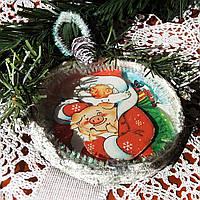 Символ года 2019 Елочная игрушка дед мороз с поросенком, фото 1