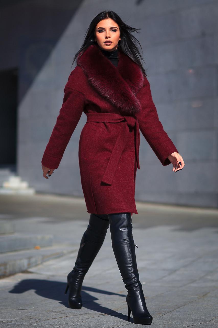 Купить стильное женское зимнее пальто с шикарным меховым воротником ... cb3d503edf79f