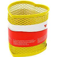 """Підставка для ручок серце """"Optima"""" №O36320-05 метал.,85х85х100мм,жовта(12)"""