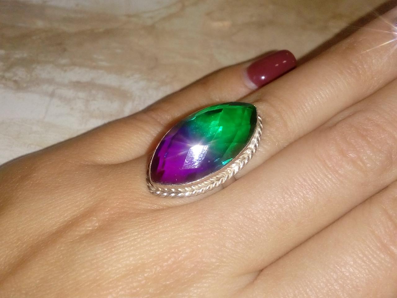 Кварц-топаз кольцо с турмалиновым кварц-топазом в серебре 16-16.5 размер Индия