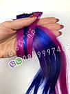 Цветные волосы прядки из канекалона на заколках фиолет, фото 7