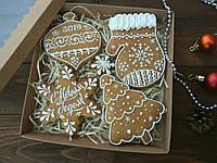 Подарочный набор к Новому Году имбирно-медовых пряников без заливки (пряник новогодний на подарок)