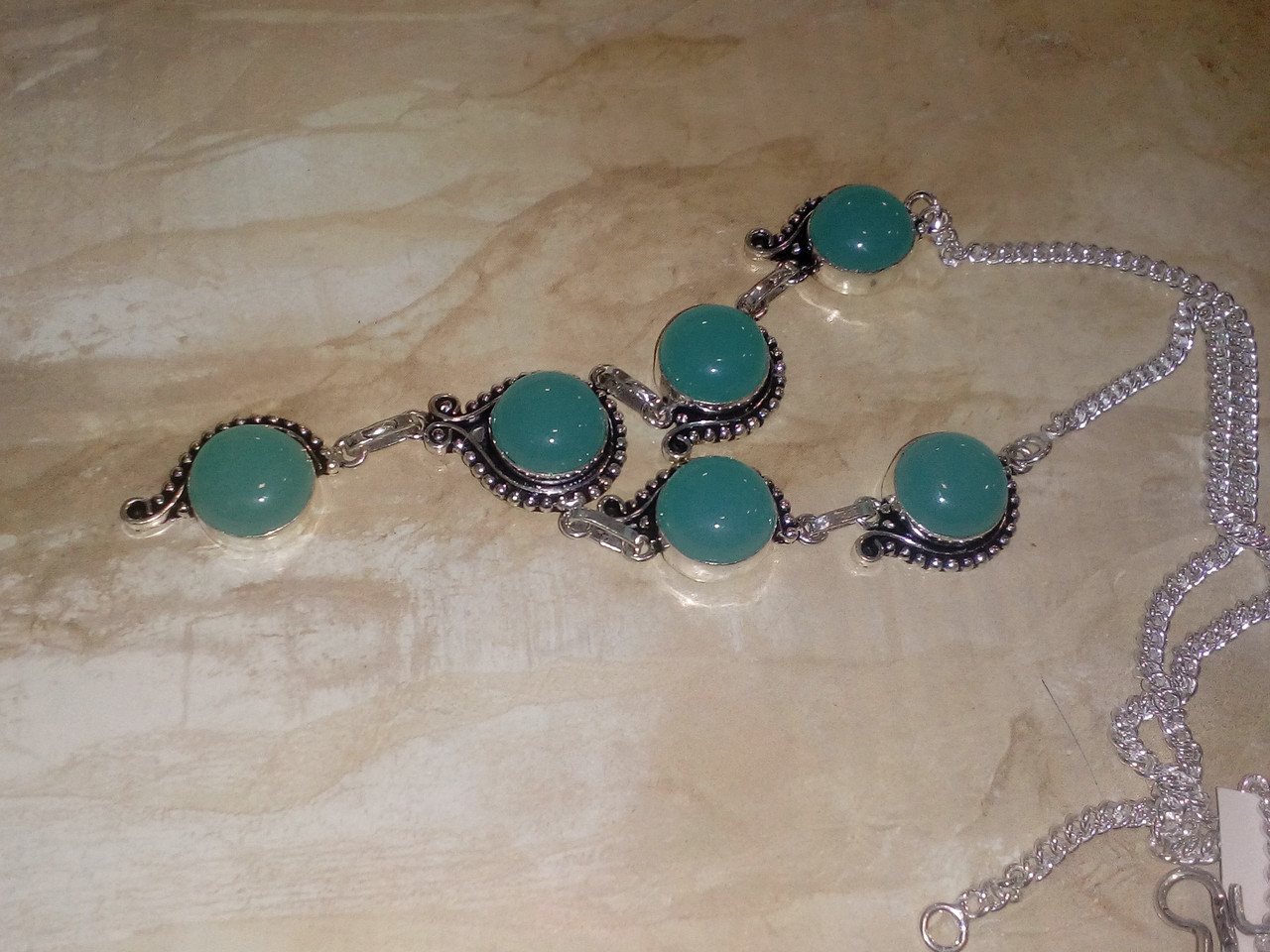 Халцедон ожерелье с индийским халцедоном в серебре Индия