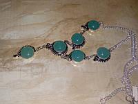 Халцедон ожерелье с индийским халцедоном в серебре Индия, фото 1