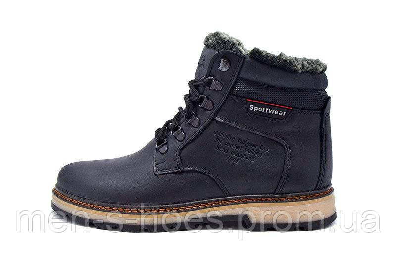 Кожаные  мужские зимние ботинки Clubshoes Sportwear Black