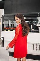 Женское платье с кружевным рукавом