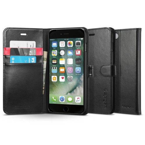 Книжка-Чехол Spigen для iPhone 8 Plus / 7 Plus Wallet S, Black (055CS22637), фото 1