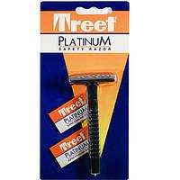 Классический бритвенный станок Treet Platinum Safety Razor. В упаковке станок 1 шт + 2 лезвия Treet Platinum