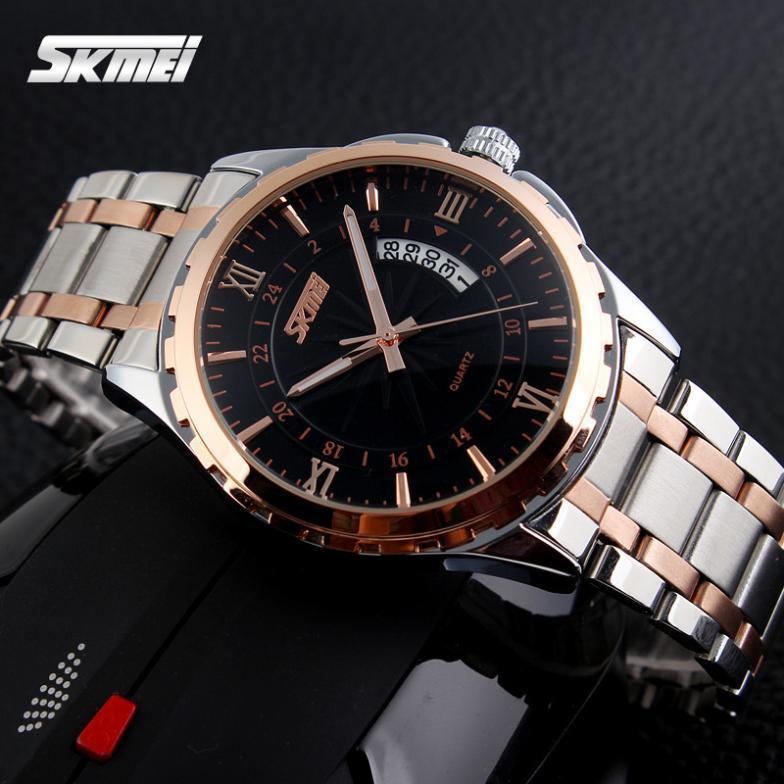 Мужские наручные часы SKMEI 9069 золото с черным