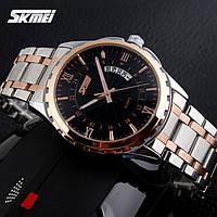 Мужские наручные часы SKMEI 9069 золото с черным, фото 1