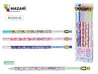 Ручка гелевая GLORIA, СИНЯЯ, игольчатый пишущий узел 0.5 мм, цветной пластиковый корпус, ассорти 4 дизайна