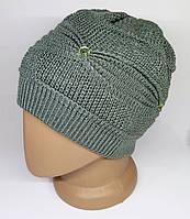 Женская зимняя шапка. Двойная вязка с присборкой. Серо-зеленая.