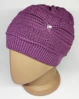 Женская зимняя шапка. Двойная вязка с присборкой. Розовая.