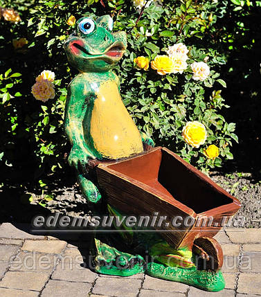Подставка для цветов кашпо Лягушка с тачкой, фото 2