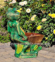 Подставка для цветов кашпо Лягушка с тачкой, фото 3