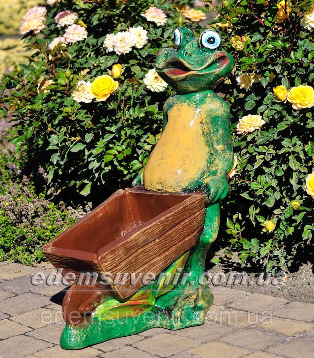 Подставка для цветов кашпо Лягушка с тачкой