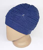 Женская зимняя шапка. Двойная вязка с присборкой. Синяя.