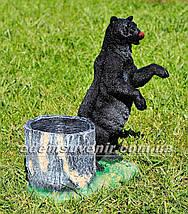 Подставка для цветов кашпо Медведь с пеньком, фото 3