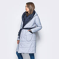 Женская зимняя курточка длинная Серо-голубая