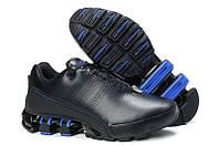 Мужские кроссовки Adidas Porsche Design IV черные с синим (кожа)