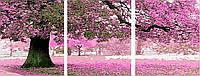 """MS 14028 (DZ 3003) ТРИПТИХ Весенний цвет"""" Роспись по номерам на холсте 50х50x3"""