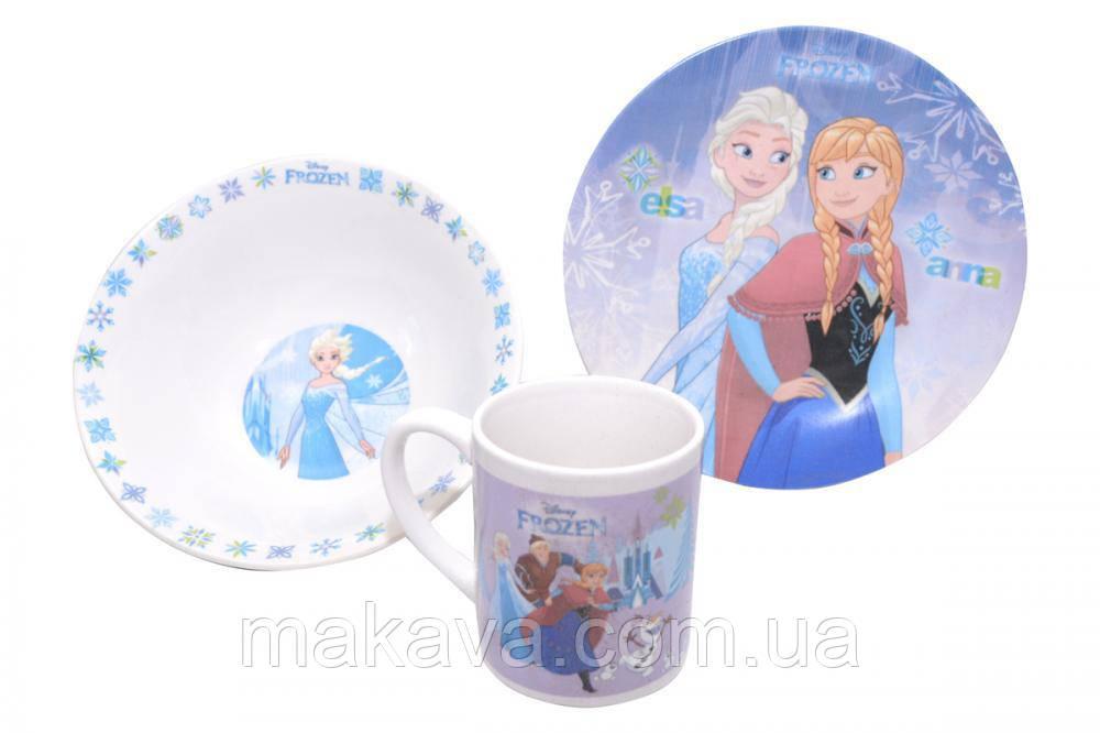 """Детский набор посуды """"Холодное Сердце"""" 3 предмета"""