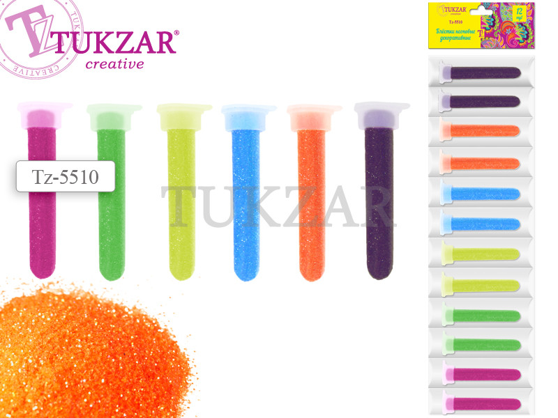 Блестки для декоративных работ в пластиковых тубах, 12 цветов НЕОН