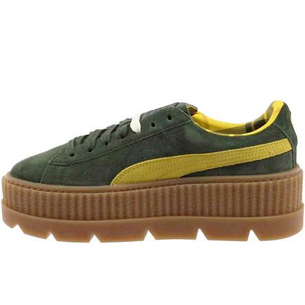 Кеды женские Puma x Rihanna Cleated Creeper Platform (желтые-зеленые) Top  replic  cec4b25dca6d1