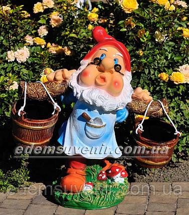 Подставка для цветов кашпо Гном водонос в очках, фото 2
