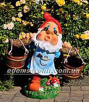 Подставка для цветов кашпо Гном водонос в очках