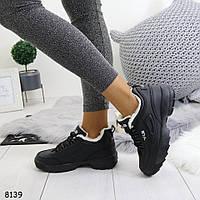 Женские зимние черные кроссовки на меху, А 8139, фото 1