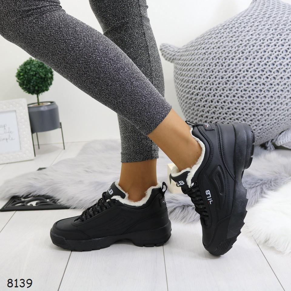 Женские зимние черные кроссовки на меху, А 8139