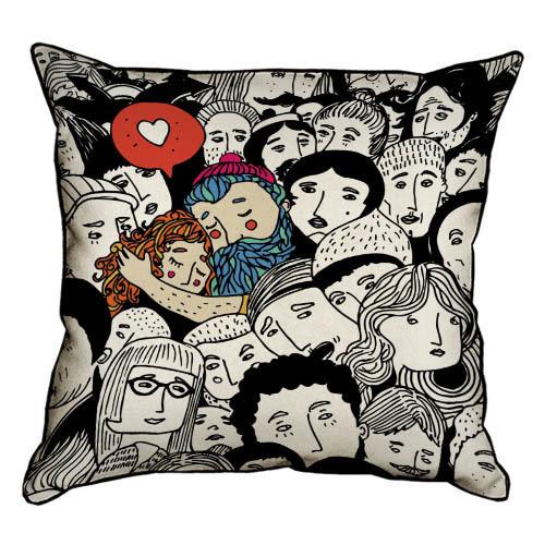 Подушка интерьерная из мешковины Любовь везде 45x45 см (45PHB_17L013_WH)