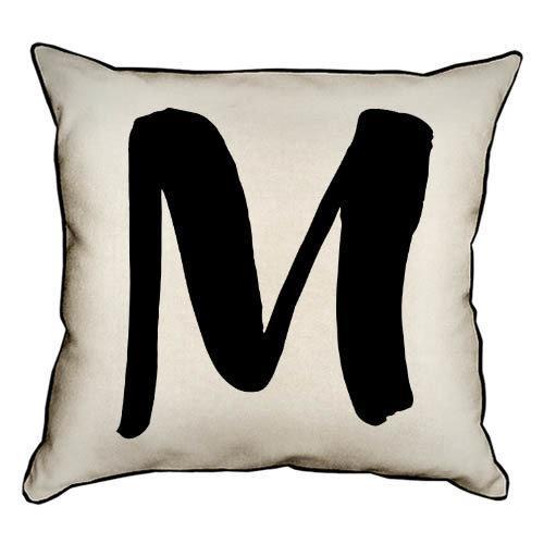 Подушка интерьерная из мешковины Английская буква M 45x45 см (45PHB_ABC026_WH)