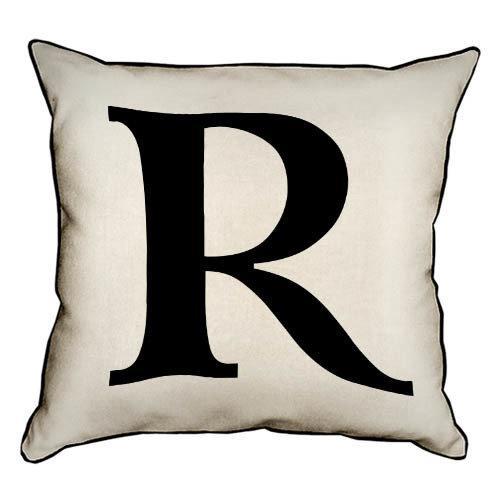 Подушка интерьерная из мешковины Английская буква R 45x45 см (45PHB_ABC036_WH)