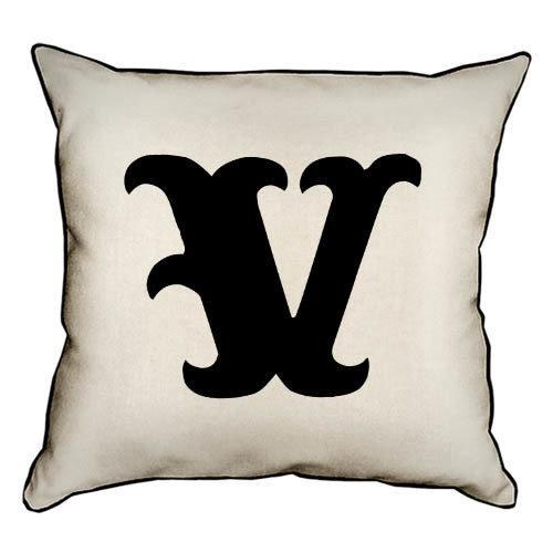Подушка интерьерная из мешковины Letter V 45x45 см (45PHB_ABC043_WH)