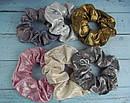 Объемные резинки для волос текстиль с напылением d 10 см 12 шт/уп, фото 4