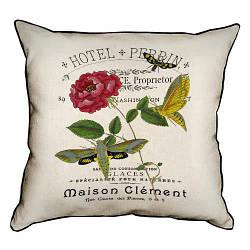 Подушка інтер'єрна з мішковини Цветок с бабочками 45x45 см (45PHB_14M001)