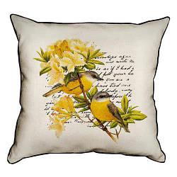 Подушка інтер'єрна з мішковини Желтый цветок с желтыми птичками 45x45 см (45PHB_14M003)