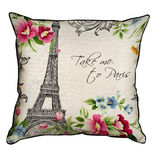 Подушка интерьерная из мешковины Take me to Paris 45x45 см (45PHB_14M042)