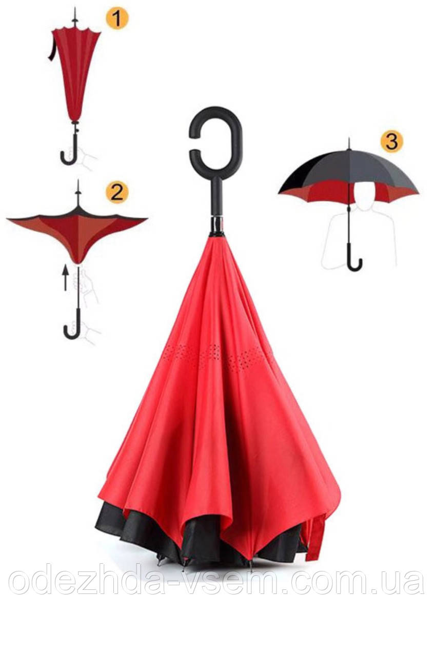 Червоний парасолька зворотного складання up-brella *Парасолька Навпаки*