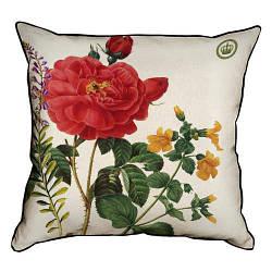 Подушка інтер'єрна з мішковини Rosa Gallica Aurelianensis 45x45 см (45PHB_BOT001_WH)
