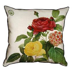 Подушка інтер'єрна з мішковини Роза красная и желтая 45x45 см (45PHB_BOT002_WH)
