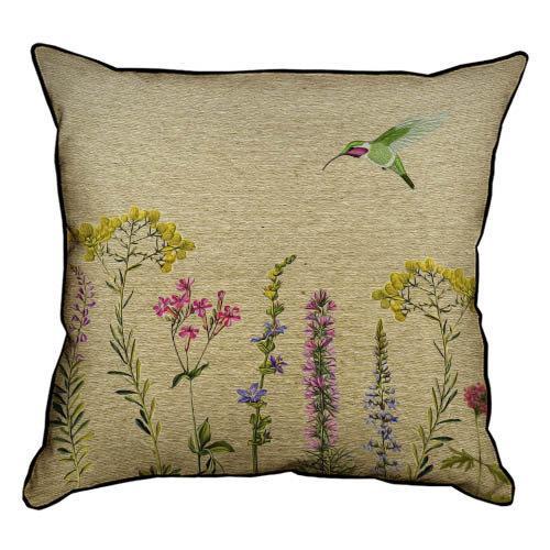 Подушка интерьерная из мешковины Полевые цветы и колибри 45x45 см (45PHB_BOT019_BR)