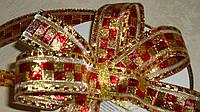 Лента декоративная 2 см золотистая \проволочный край двустороння