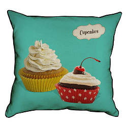 Подушка інтер'єрна з мішковини Cupcakes 45x45 см (45PHB_SWE001_WH)