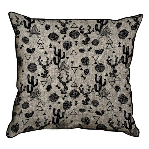 Подушка интерьерная из мешковины Кактусы на темном фоне 45x45 см (45PHB_TFL014_BL)